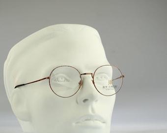 Roy Tower Preppy 49 DB, Vintage round eyeglasses, 90s mens & women panto optical frame, unique and rare / NOS