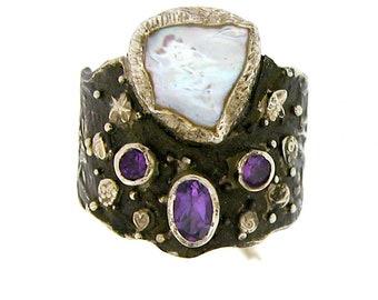 Keshi Pearl and Amethyst Ring