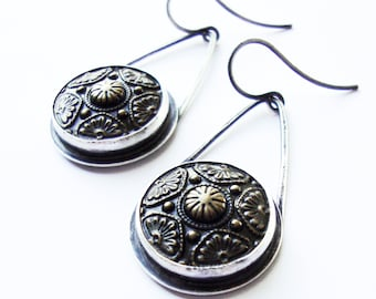 Antique Brass Button Cabochon Earrings, Brass Button Cabochon Sterling Silver Earrings