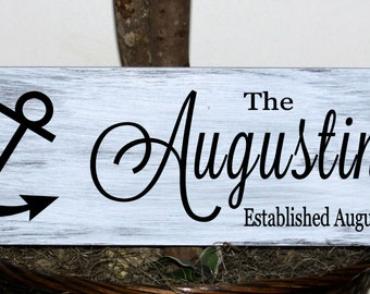 Primitive - nautical anchor family name sign with established date