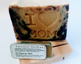 Mother's Day Patchouli Gift Set - Patchouli soap and solid perfume and cedar soap deck