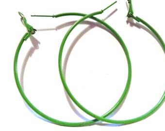 2.25 inch Hoop Earrings Green Hoop Earrings Classic Thin Hoop Earrings