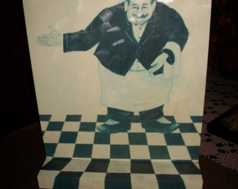 Vintage - Kitchen Chef / Maitre D' Standing or Hanging Sign - Very Unusual -