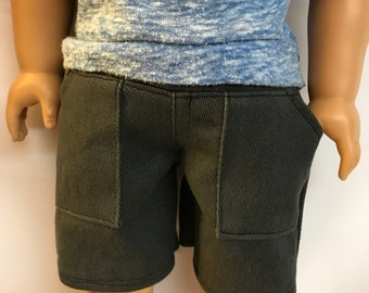 Charcoal Gray Cotton Twill Cargo Shorts for 18 inch boy dolls 18 inch boy doll clothes