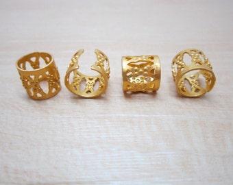20-100pcs mini gold dreadlock Beads dread hair braid adjustable cuff tube clip 7mm hole