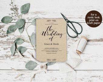 Kraft Wedding Invitation Printable, Wedding Template, Wedding Invitation, Rustic Wedding, Kraft Invitation, PDF Instant Download, BD6039