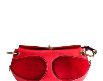 Loewe red leather shoulder bag