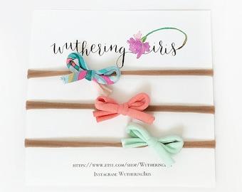 Mini Bow Headband Set, Nylon Headbands, Baby Headband Set, Baby Bow Set, Small Bows, Nylon Baby Headband, Baby Girl Bows, Mint Pink Bows