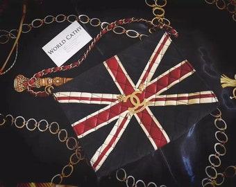 authentic chanel paris-london flag limited handbag clutch