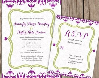 Wedding Invitation Set - Damask Invitation - Damask wedding Invitation - Whimsical Wedding Invitation - Magenta and Green Invitations
