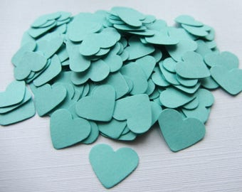 Wedding confetti hearts Wedding turquoise Hearts Paper hearts 100 die cut hearts paper heart table confetti weddings