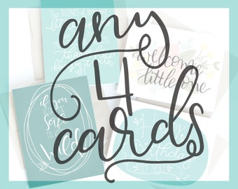 4 pack of cards . hand lettered . mix and match . modern calligraphy . 4.25 x 5.5 . handlettering . birthday . thank you . teacher . baby