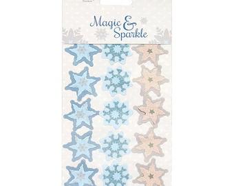 3D Snowflake Stickers - Dovecraft Magic & Sparkle - Premuim Christmas Scrapbook Sticker - Glitter - Silver Blue Pastel