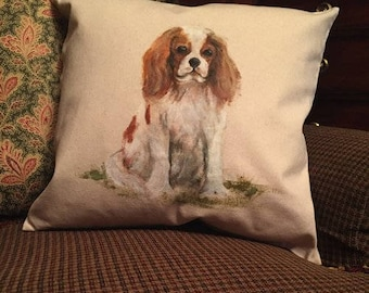 Hand Painted Dog Pillow