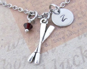 Oars Paddle Charm Necklace, Personalized Antique Silver Hand Stamped Initial Monogram Birthstone Oars Charm Necklace