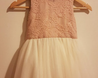 Blush Pink Lace Bodice Flower Girl Dress with Ivory Tulle Skirt