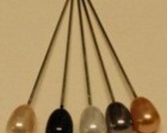 "Corsage /Boutonniere Assorted Metallics Neutral Tear Drop Pins - 2"" 144 pk"