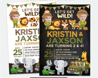 Safari Sibling Invitation with Photo, Girls and/or boys Invitation, Explorer Birthday, Wild Invite, Personalized DIGITAL Invite, 2 Options