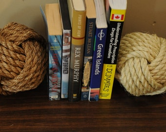 Nautical Decor - Large Monkey's Fist Book Ends (5 inches and heavy) (this is for 2 knots)