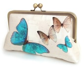 Butterfly clutch bag, silk purse, wedding bag, bridesmaid gift, gift box, blue butterflies