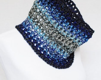 SALE Blue and Grey Crochet Cowl, Striped Neck Warmer, Navy and Silver Gray Mesh Infinity Scarf