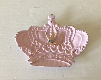 Crown princess dish, pink with gold, ring holder, distressed, small