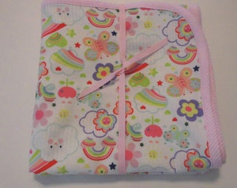 Handmade Baby Receiving Blanket Flannel Baby Blanket Happy Rainbow Fabric - New Ready to ship