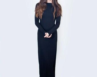 Maxi Dress • Boatneck Long Sleeve Dress • Women's Tall Petite Length Dresses • Black Jersey Dress • L415&Co Clothing (#415-715)