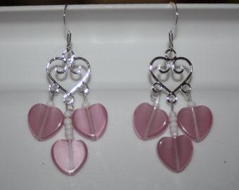 Pink & White Glass Heart Earrings