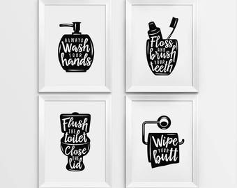 Bathroom wall decor, Printable Art, Gallery prints set of 4, Wash hands sign, Brush teeth sign, Flush toilet sign, Bathroom art