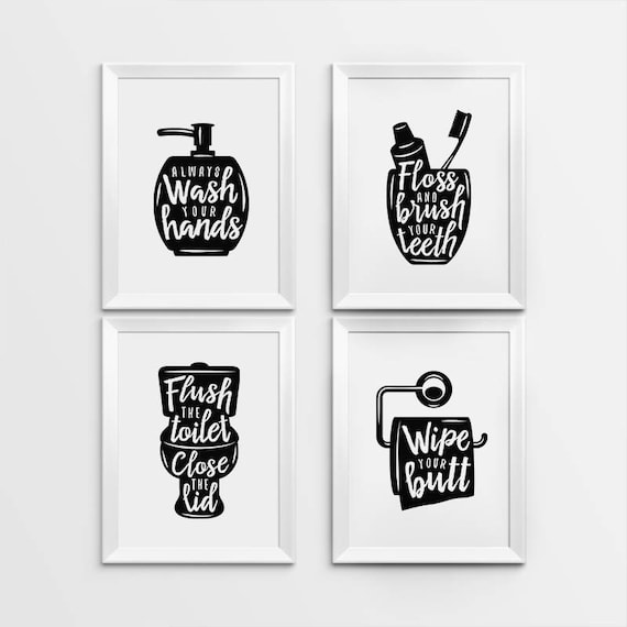 black and white bathroom wall art bathroom wall decor printable gallery prints set of 4 25121