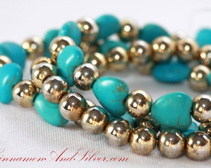 Set of 3 Turquoise Blue Dyed Howlite Stone Hearts and Vintage Gold Beads Stretch Bracelets, Beaded Arm Candy Stack, Blue Stretch Bracelets