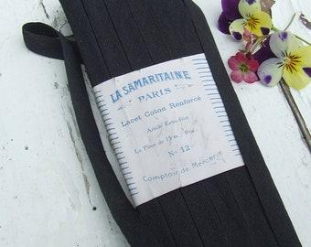 Vintage French Flat Cotton Tape, La Samaritaine Paris, Shoelace Cord, Black Tape, 15 metres (16.4 yards)