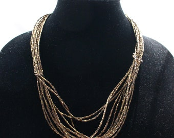 UNN # 68 Vintage Seed and Bugle Bead Necklace in Golden Bronze with Knot Detailing