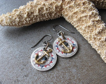 Anchor on Compass Earrings - Nautical Jewelry - Mixed Media Artisan Earrings - Compass Jewelry