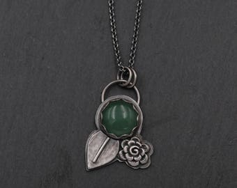 Green Jade Necklace, Flower Necklace, Sterling Silver, Metalwork Necklace, Sterling Silver Metalwork, One of a Kind Necklace