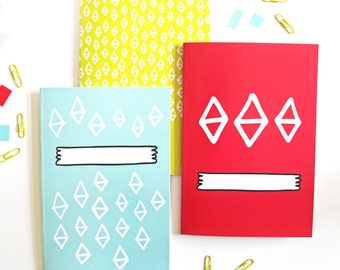 Set of 3 Bright Patterned Notebooks