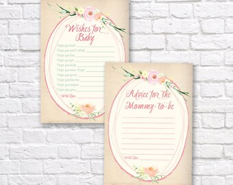 SHABBY CHIC Wishes for baby - Advice for mommy to be - Shabby Chic baby Shower Printable - Baby shower printables - Baby shower games
