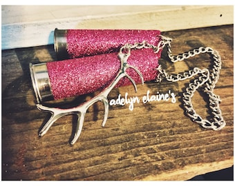 Pink Glitter 12 Gauge Shotgun Shell Rear View Mirror Hanger with Silver Deer Antler Charm // Mirror Charm