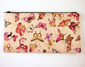 Beige Butterfly Zipper Pouch, Cosmetic Pouch, Gadget Bag, Pencil Pouch