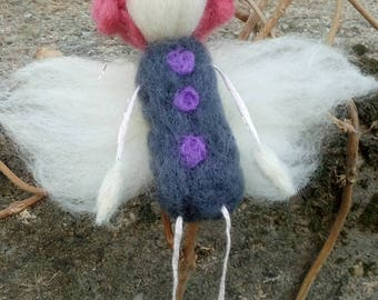 Needle felted handmade fairy ornament, one of a kind made from turkish wool