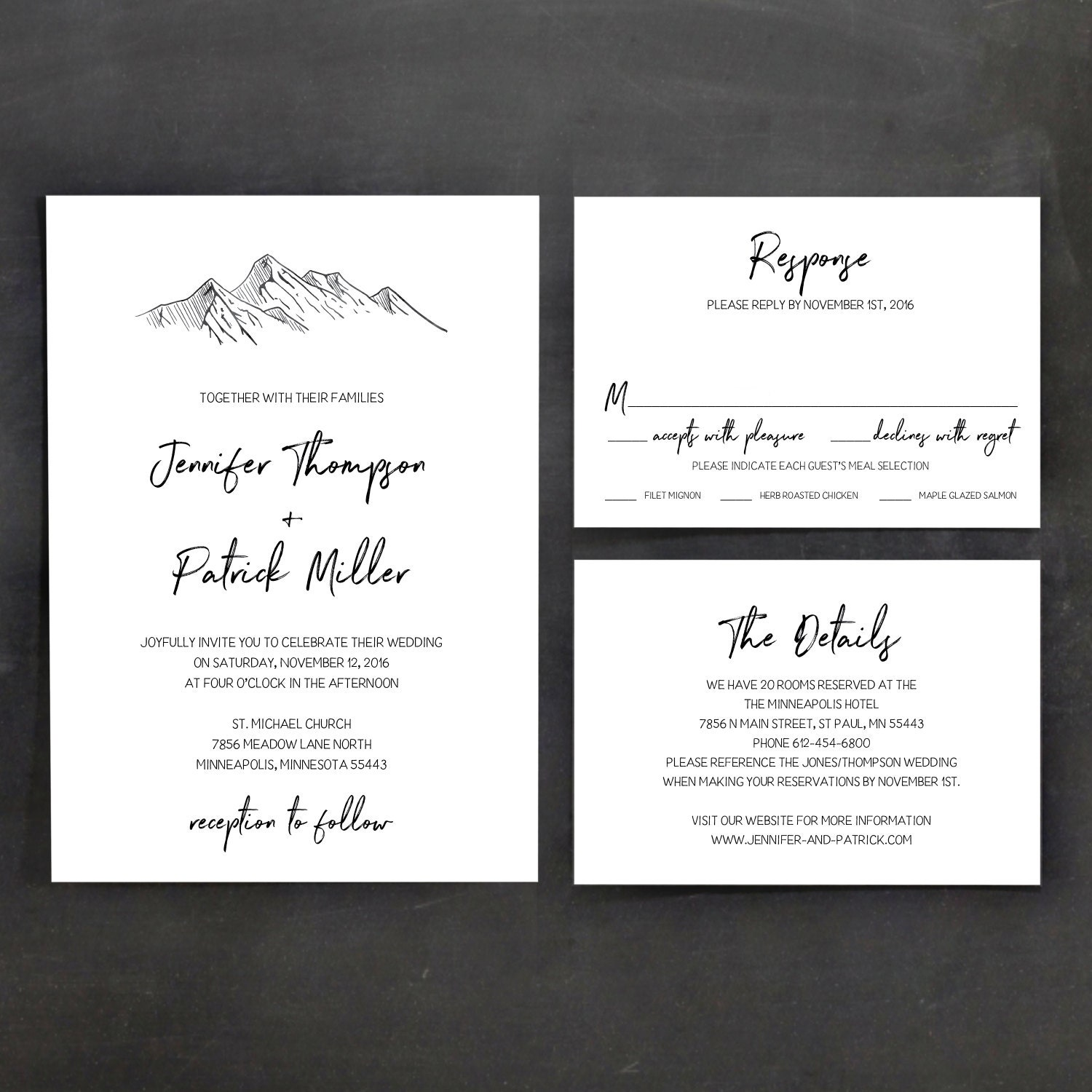 Printable Wedding Invitation Template, Invitations Online, Mountains ...