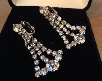 Vintage Chandelier Earrings, Bridal Jewelry, Rhinestone Earrings, Hanging Clip On Rhinestone Earrings