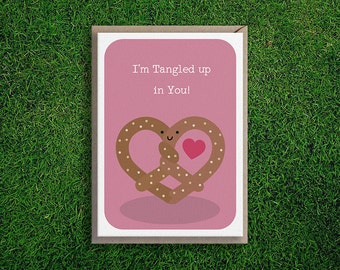 Greeting Cards | Tangled up in You Valentines Day Card Anniversary Romantic Cute Funny Quirky Pretzel Food Boyfriend Girlfriend Husband Wife