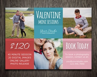 Valentine Mini Session - Valentine's Day Photoshop Marketing Template - Photography Marketing MT056
