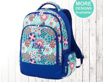 Personalized Flower Garden Backpack, Monogrammed Backpack, Girls Backpack, Kids Backpack, Elementary School Backpack, Garden pattern