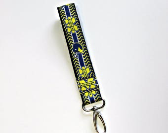 University of Michigan Keychain / Michigan Wolverines / Key fob / Wristlet Keychain / Wristband / Graduation Alumni gift