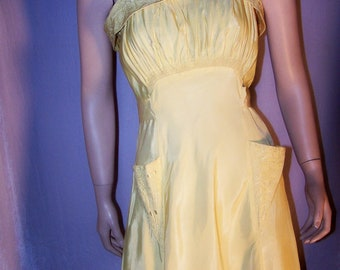 VINTAGE 1930s Yellow Taffeta Bias Cut Gown ~ FORMAL - PARTY