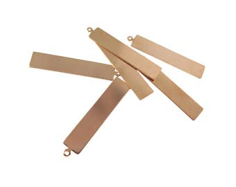 Rose Gold Plated Rectangle Engraving Charms (2x) (M659-D)