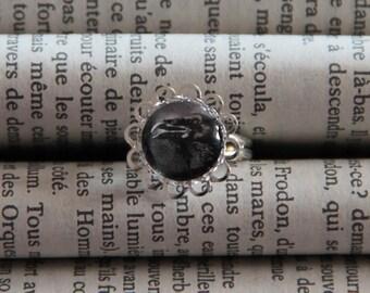 Ring cabochon silver Raven